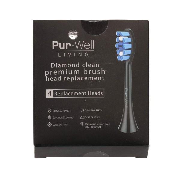 [Pur-Well Living] 소닉 클린 브러쉬 교체 헤드 소프트 듀퐁 강모 4 개 팩 전기 칫솔 헤드 (블랙 (다이아몬드 에디션)), 단일상품