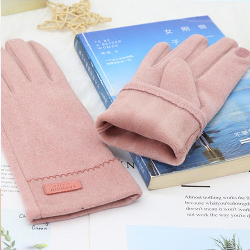 무드 여성 장갑 봄 여름 가을 겨울 운전 패션 손가락 스마트폰 터치, 핑크