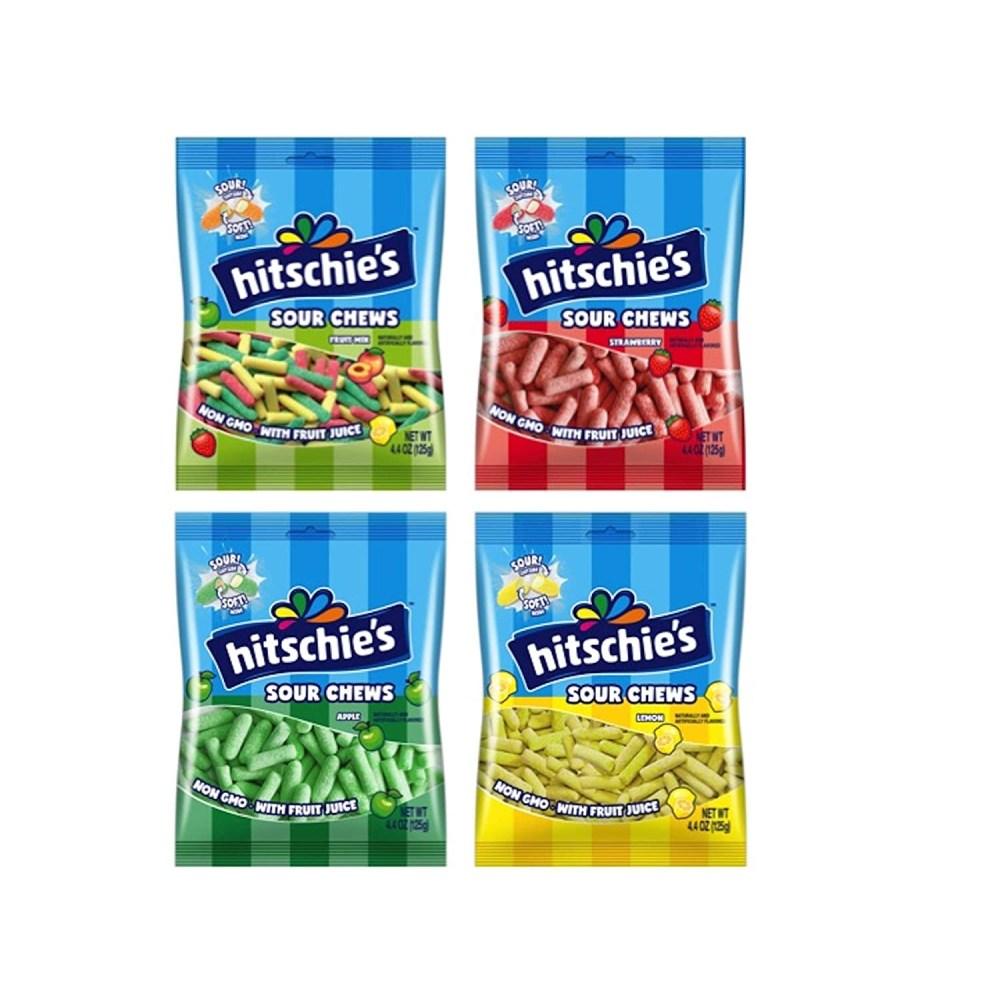 Hitschler 히츨러 히치스 딸기 사과 레몬 과일맛 수수깡젤리 8개 Hitschies Sour Chews Assortment 125g, 1개, 0g