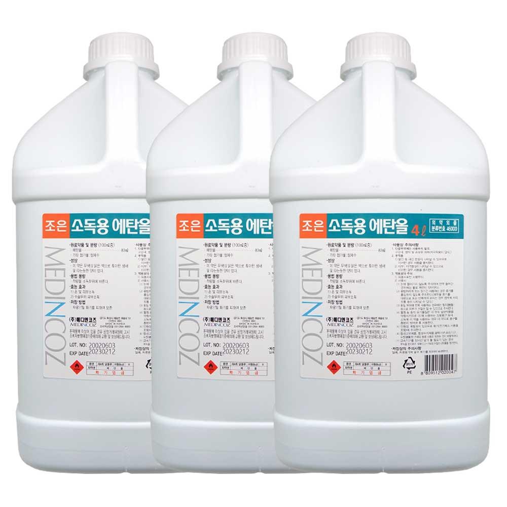 조은 소독용 에탄올(83%) 4L, 3개
