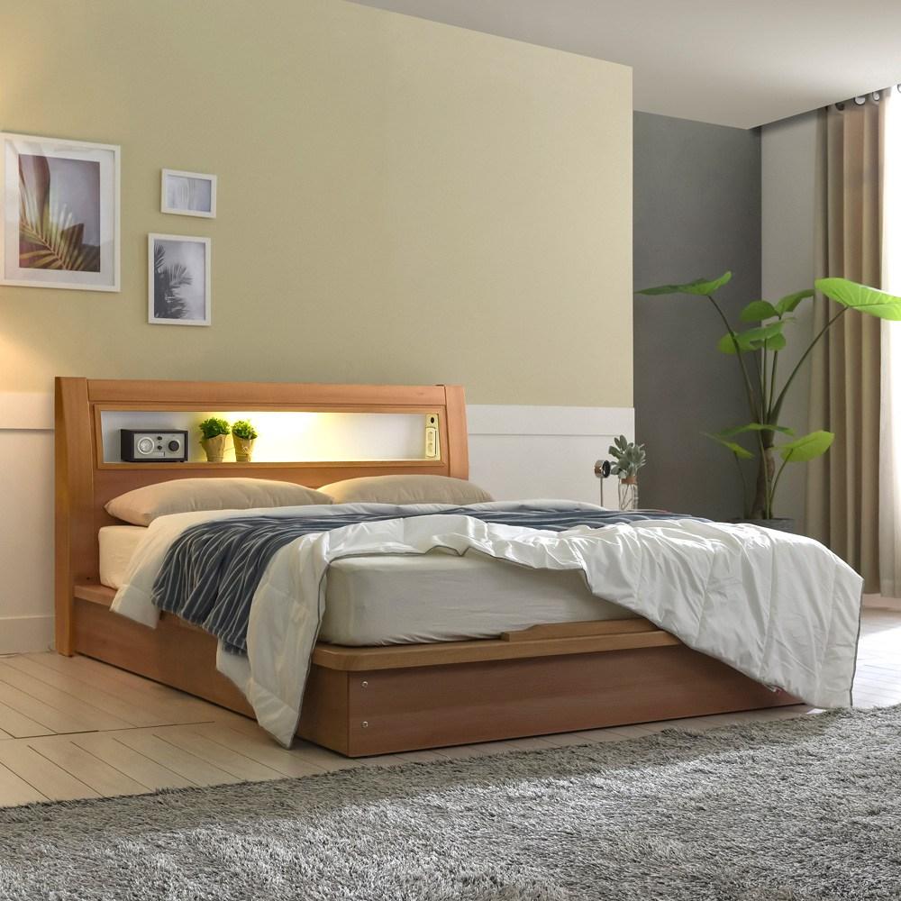 크렌시아 라이 LED 평상형 침대프레임 (매트제외), 아카시아, 퀸(매트제외)