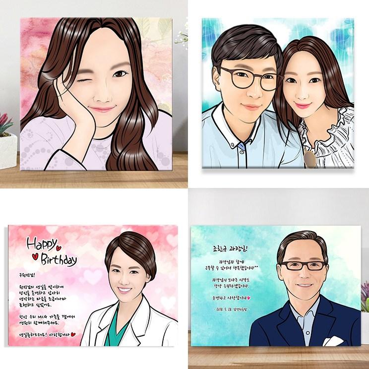 팝아트 캔버스액자 초상화 부모님 커플 생일선물 기념이선물 웨딩 캐리커쳐 퇴직선물, 그림속인원 2명