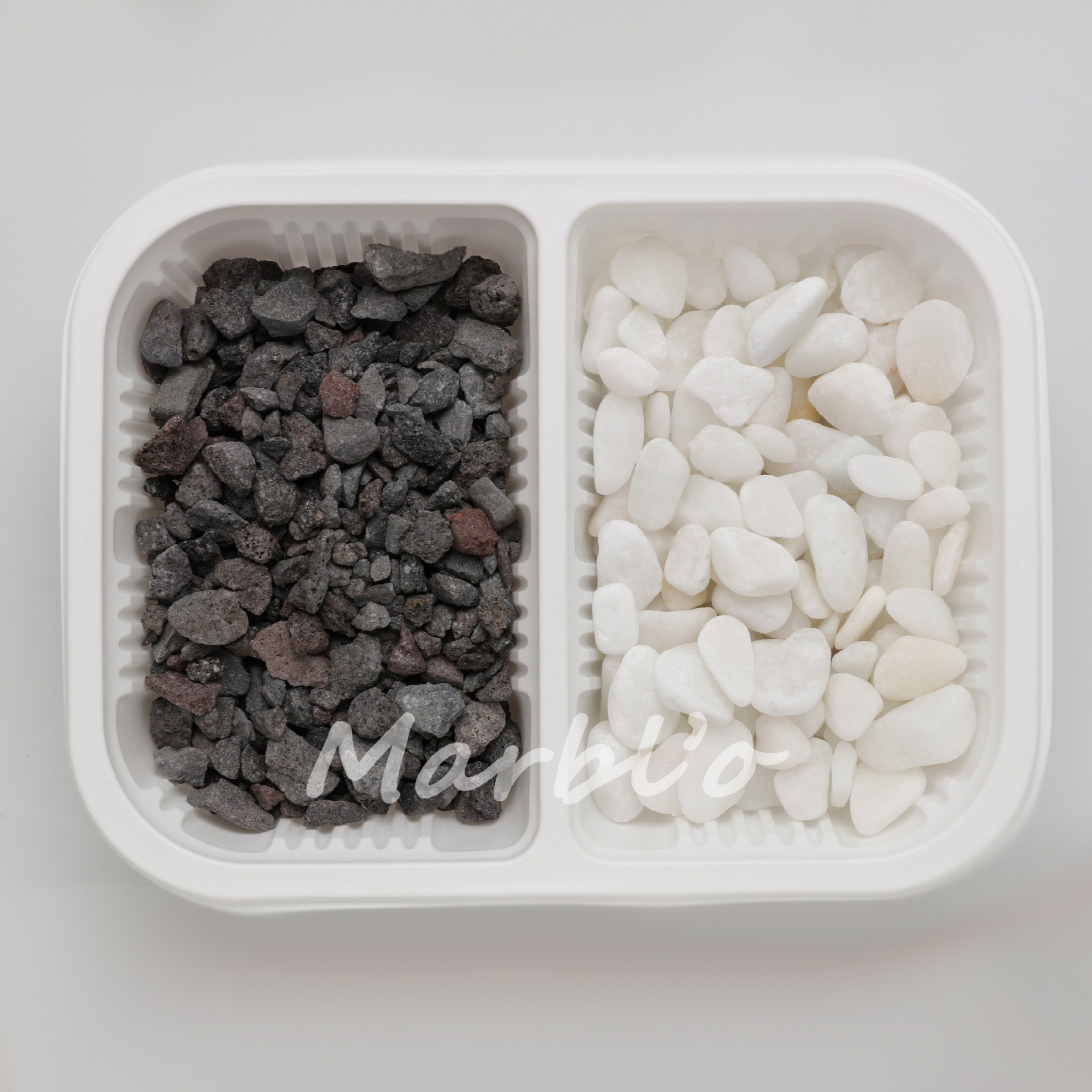 [마블로] 현무암+밀키화이트 2kg(각 1kg) 자갈