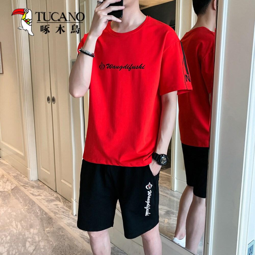 딱따구리 반팔 세트 남자 여름 패션 루즈 핏 반팔 티셔츠 반바지 남성복 2 종 세트 청소년 캐 주 얼 트 레이 닝 세트 남자 빨간색 - 반바지 XL