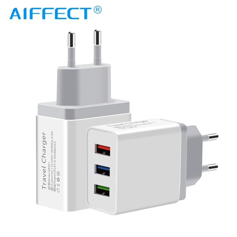 Aiffect usb 충전기 아이폰 x 8 7 ipad 빠른 벽 충전기 삼성 s9 샤오 미 미 8 화웨이 1 2 3 포트 휴대 전화 충전기, 1개, 100cm Micro Cable