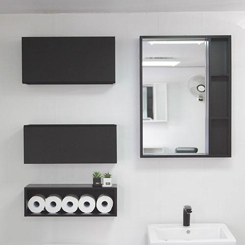 A6마트 욕실장 거울 47종 모음 욕실수납장 수건장 당일발송, 블랙600상단장(크린)