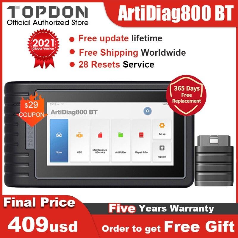 [해외]TOPDON ArtiDiag800 BT OBD2 스캐너 자동 도구 모든 시스템 자동차 진단 도구 DPF EGR IMMO PK MK808BT MK808 블루투스 호환, 협동사, 프랑스 국민
