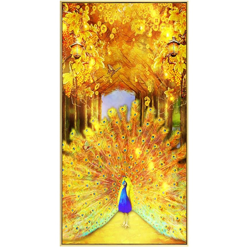 금전수 가로수길 공작새 보석십자수 큐빅 비즈 풍경, 60x110