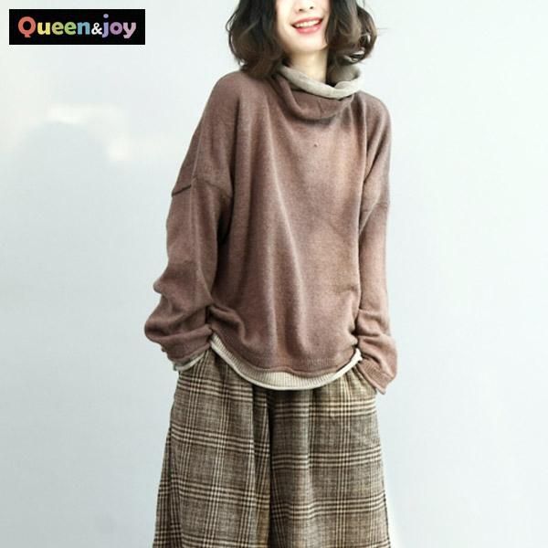 퀸앤조이 미녀77 레이어드 터들넥 니트 스웨터