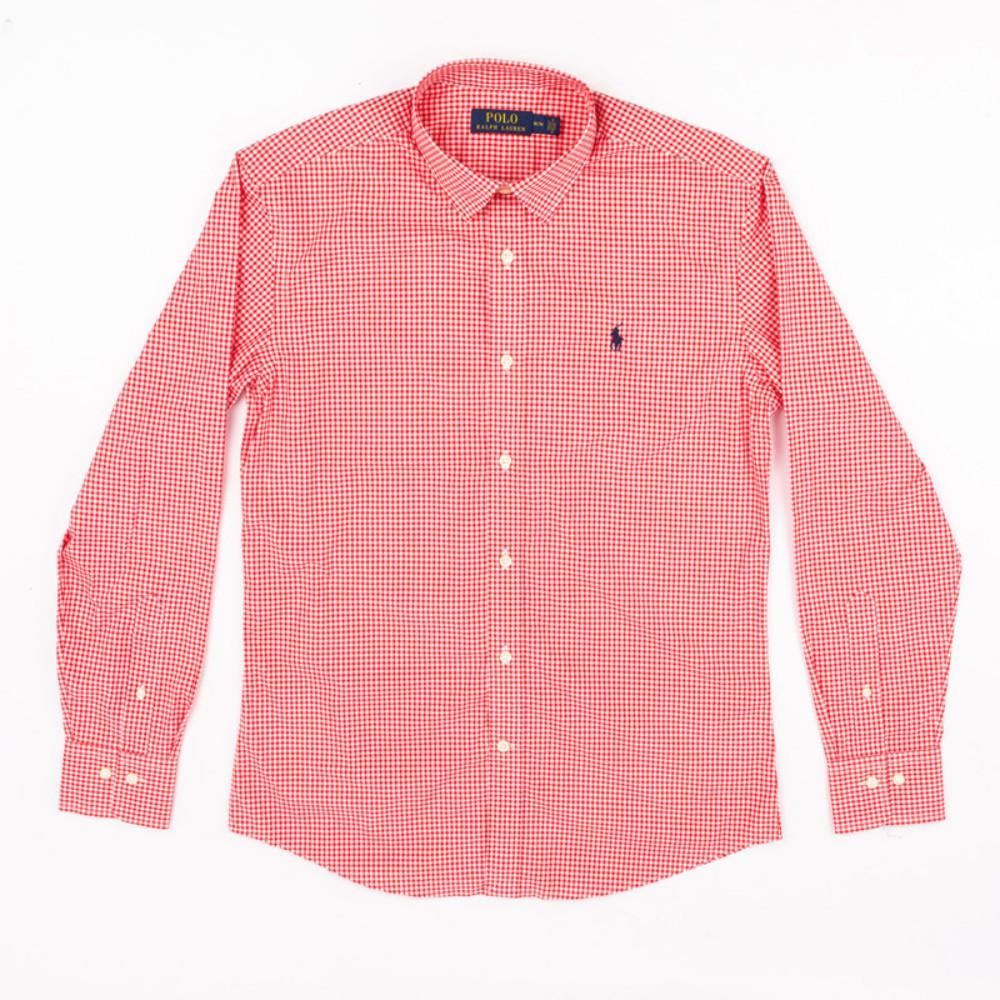 폴로 셔츠 Classic-fit 코튼 셔츠 Urban 캐주얼 다크 레드 체크 무늬 셔츠