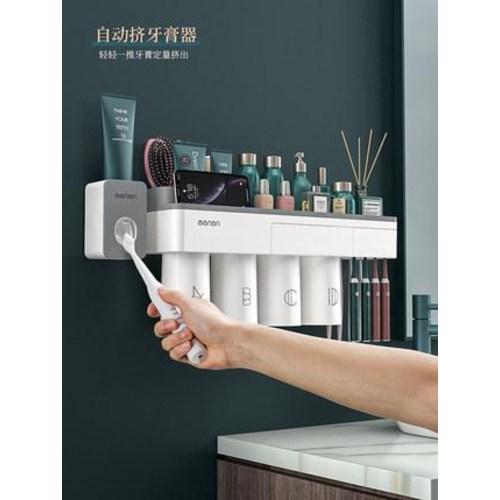 칫솔 캡흡착 이름표 물때안끼는칫솔걸이 선반에 구멍 없이 양치컵 벽걸이 전동치약, 옵션18