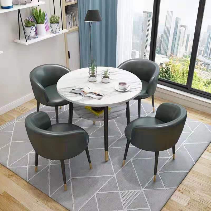 원형 식탁 홈바 테이블 휴게실 탕비실 카페 거실 티 테이블 의자 세트, 다크 그레이 가죽과 다크 그레이 가죽