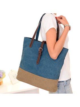 여성 캔버스 핸드백 명암비 접합 지퍼 멀티포켓 대용량 노트북 가방 숄더백