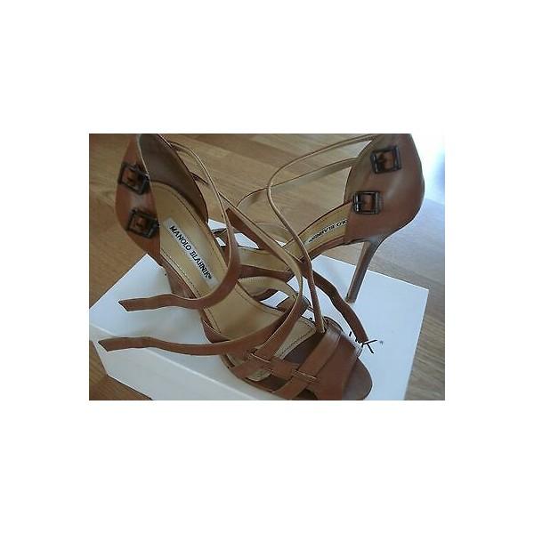 MANOLO BLAHNIK brown leather open-toe shoes size 40