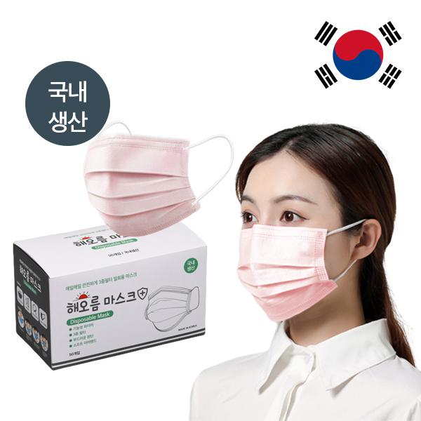 국산 비말차단마스크 해오름마스크 50매입 핑크, 1개