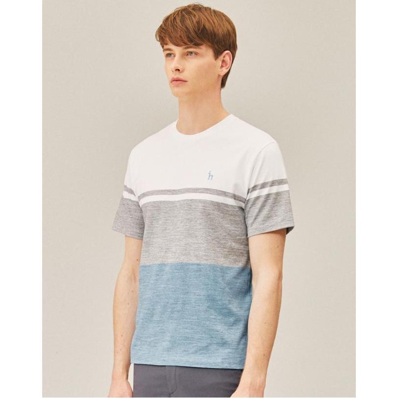 헤지스 남성 19SS 블루 컬러블록 면 반팔티셔츠 WHTS9B835B1