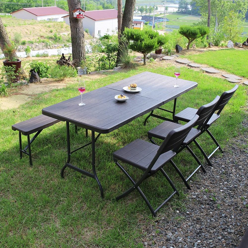 위드퍼니처 아르망 1800 브로몰딩 접이식 테이블+벤치+아르세의자 3개 세트 야외테이블세트, 단일상품