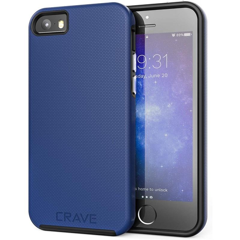 Crave iPhone SE [2016] (1 세대) iPhone 5 / 5s / SE 용 듀얼 가드 보호 시리즈 케이스-네이비