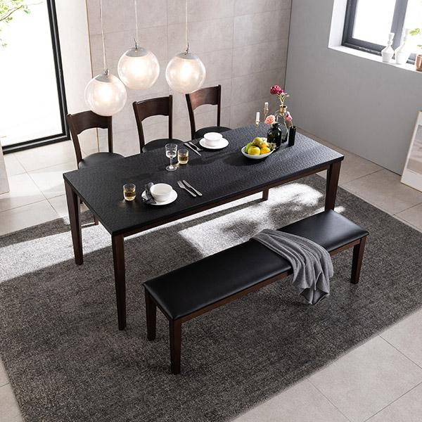 삼익가구 크로아 화산석 원목 6인용 식탁세트(벤치1+의자3) 화산석식탁, 블랙+브라운