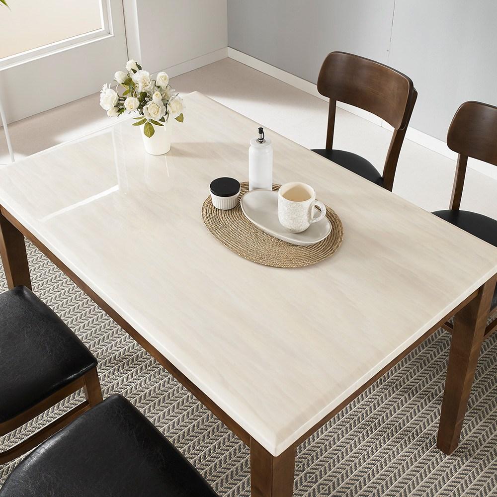 라로퍼니처 빈츠 대리석 4인용 원목 식탁 세트 식탁세트, 단품_4인 테이블