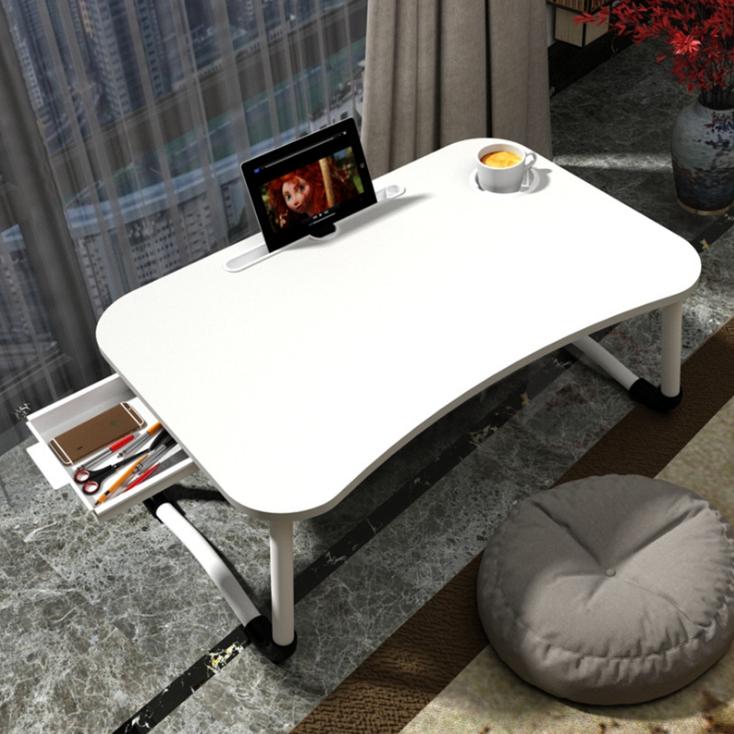 소프시스 접이식 노트북 테이블 서랍 고급형 60 x 40 x 28 cm, 블랙