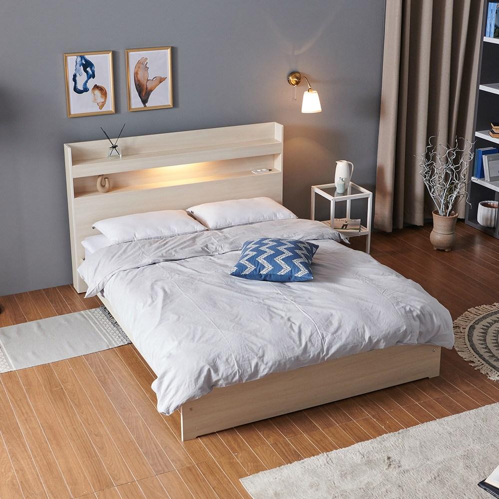 크렌시아 아너스 LED 일반형 슈퍼싱글 퀸 침대프레임 (매트제외), 메이플