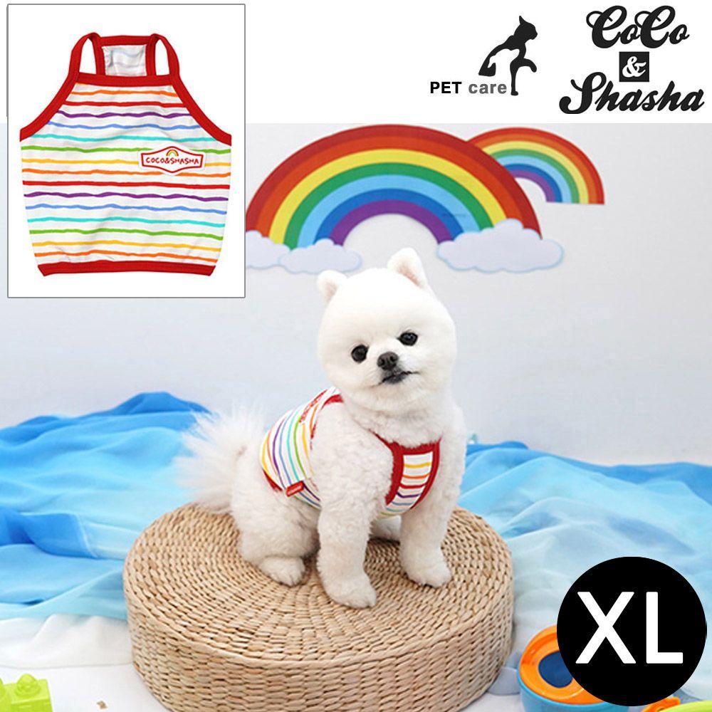 YJ_54739 + 강아지 티셔츠 +TWON#+ 레인보우 크롭 티셔츠 (레드) (XL)