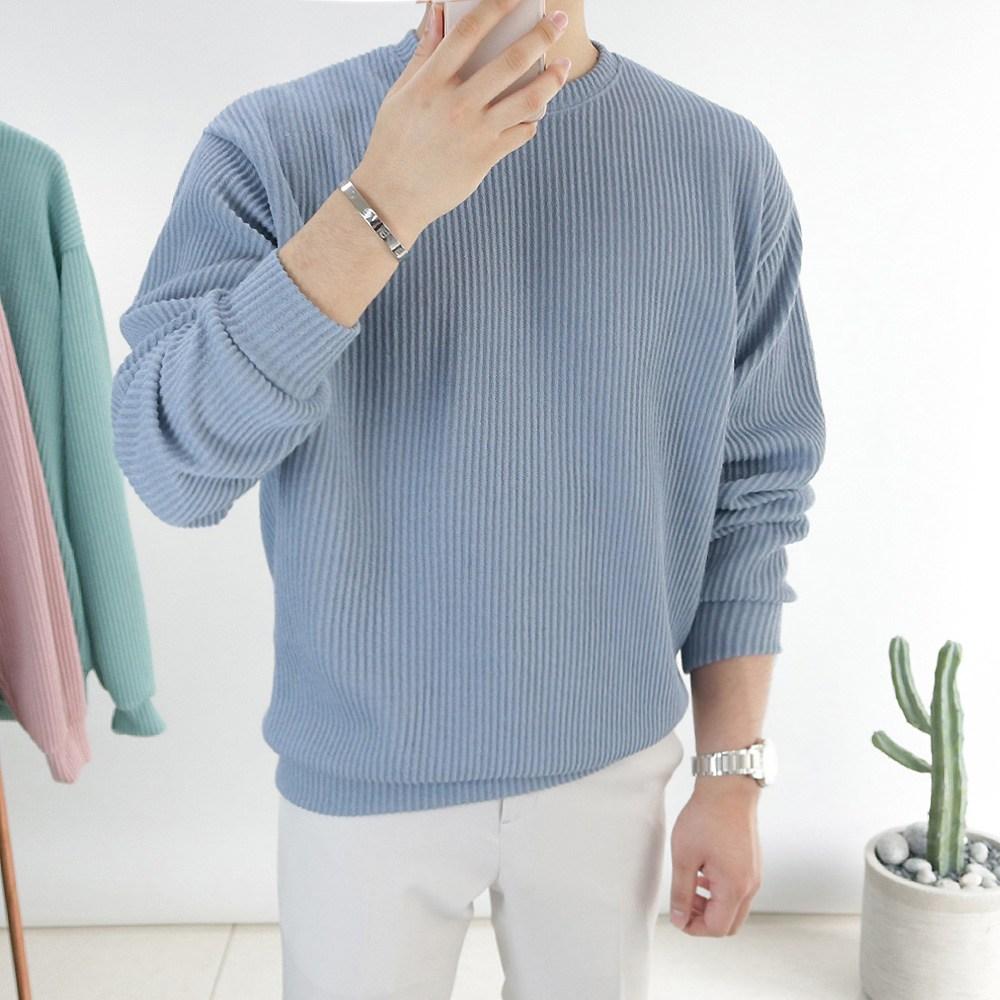 맥스 봄 니트 맨투맨 남자 라운드 티셔츠 커플 오버핏