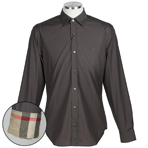 버버리 3991161 STONE GREY 남성 소매 체크 코튼 셔츠