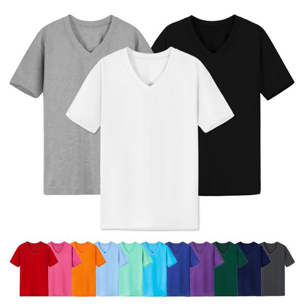 어반티 남녀공용 30수 브이넥 무지 반팔 티셔츠