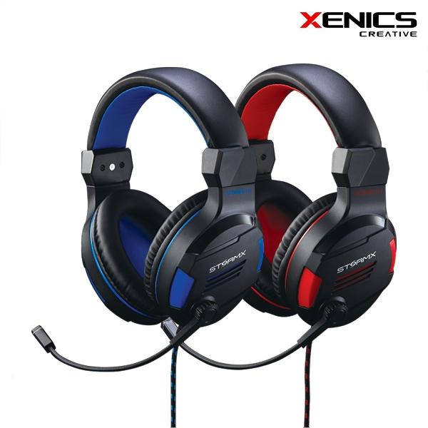 제닉스 STORMX H1 마이크 PC헤드셋, 블랙레드