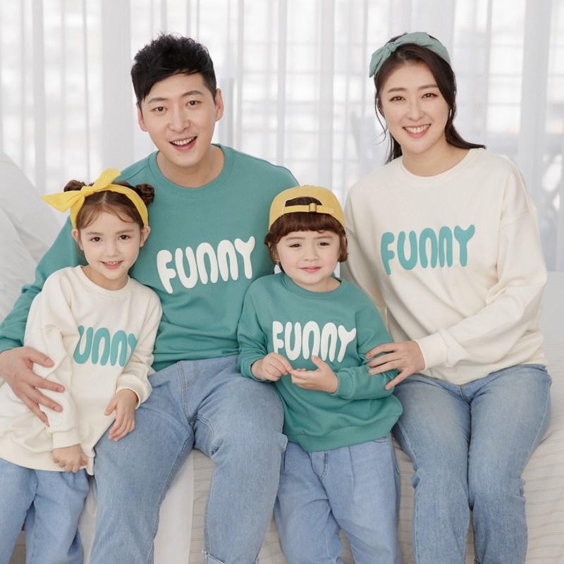 퍼니멜로우 맨투맨 가족티 봄 커플 가족티셔츠 돌 촬영 가족사진의상