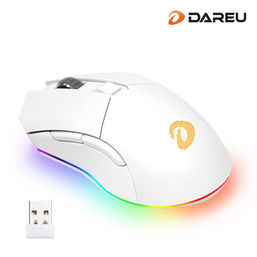 다얼유 EM901 RGB 게이밍 무선 마우스 화이트, 옵션없음, 옵션없음