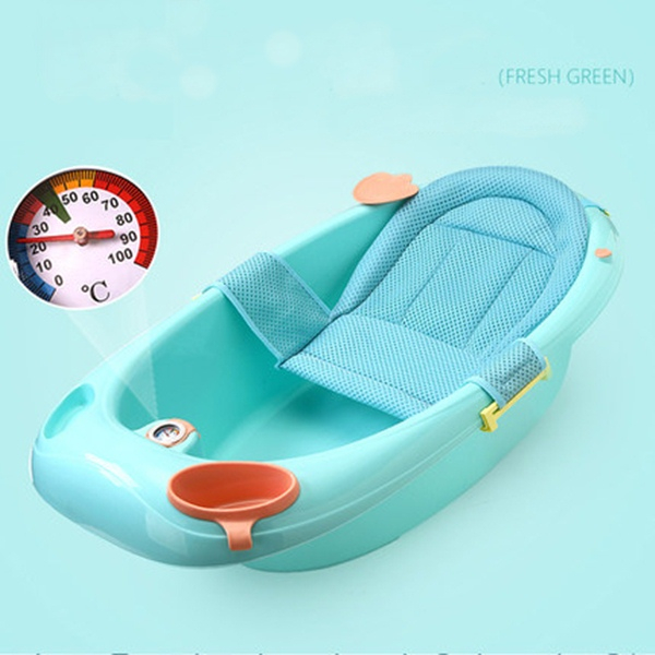 뽀뽀아가 어린이 욕조 신생아 유아 목욕통 온도계 ET0064 유아욕조, 그린+망사시트
