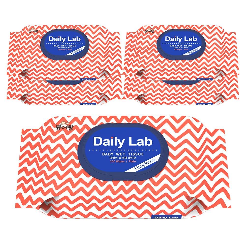 [한정수량] 붕어빵 아기 물티슈 데일리랩 해피니스 대용량 캡형 100매 유아물티슈, 10팩