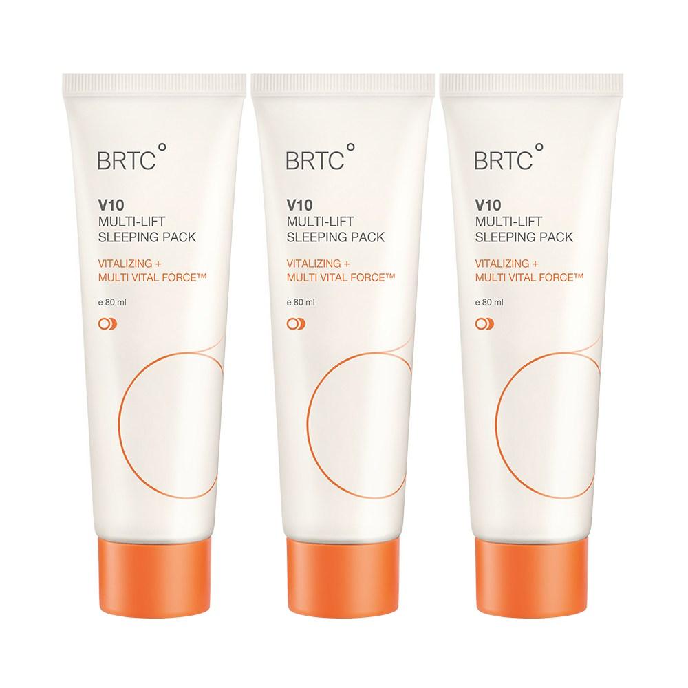 BRTC V10 멀티 리프트 슬리핑 팩 80ml 비타민 수분 폭탄 수면팩 대용량 크림, 3개