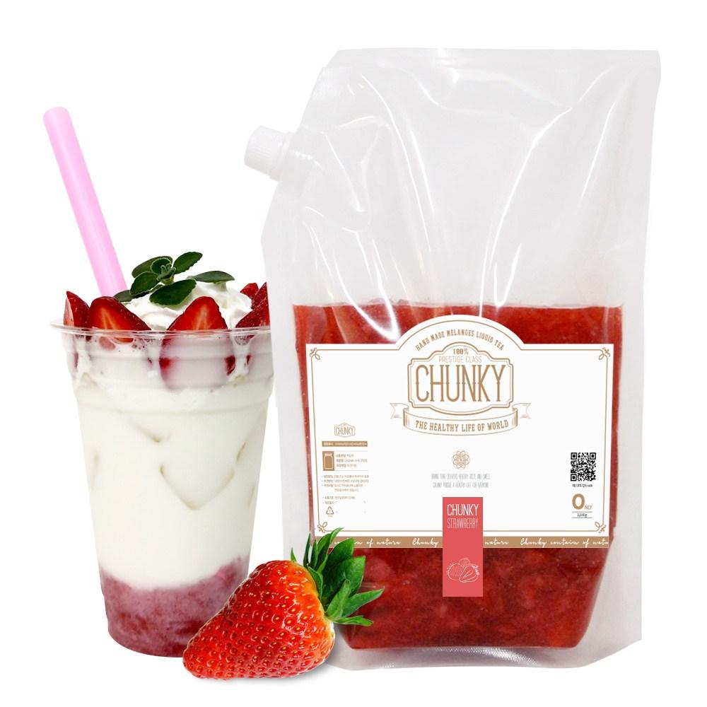 청키 대용량딸기청 수제 딸기청 딸기라떼 과일청 수제청 2kg, 1개