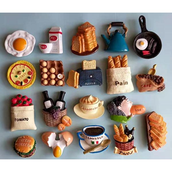 미니어처 푸드 자석 10종세트 3D 마그네틱 피자 커피 주전자 햄버거 포도주 냉장고자석, A세트