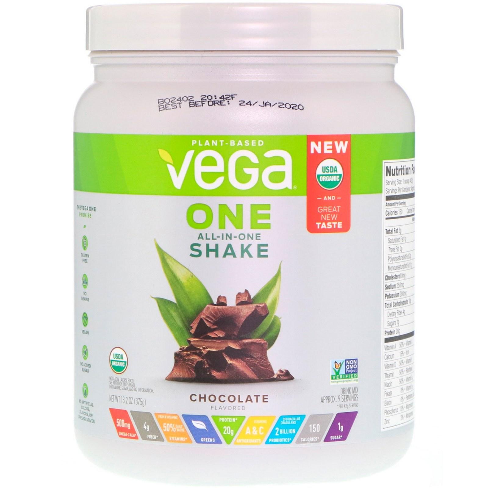 베가 원 올인원 셰이크 초콜릿 13.2 oz 375g 식물성 단백질, 1개, -