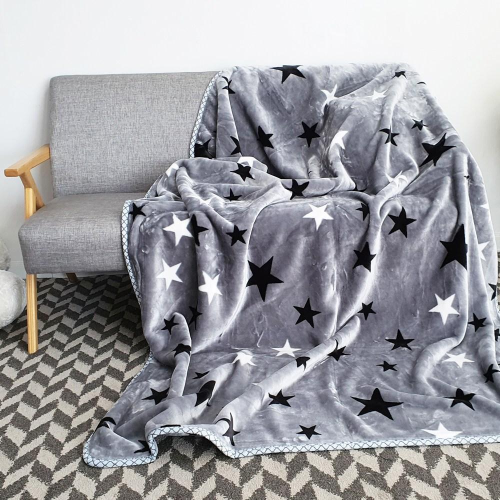 밀리에르 겨울 극세사 대형 밍크 담요 150*200, 별 그레이