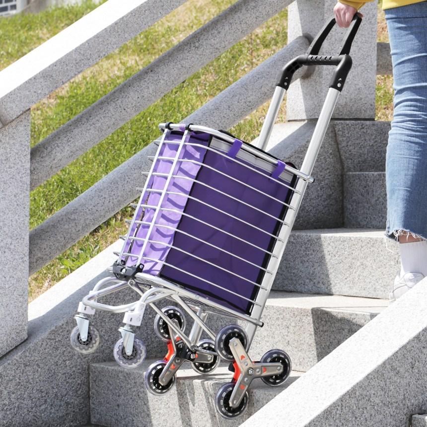 계단도 사용가능한 접이식 쇼핑카트 세바퀴카트 시장카트 쇼핑카트 접이식카트 시장바구니캐리어 핸드캐리어 시장가방 장바구니 접이식쇼핑카트, 트리플 휠 쇼핑카트