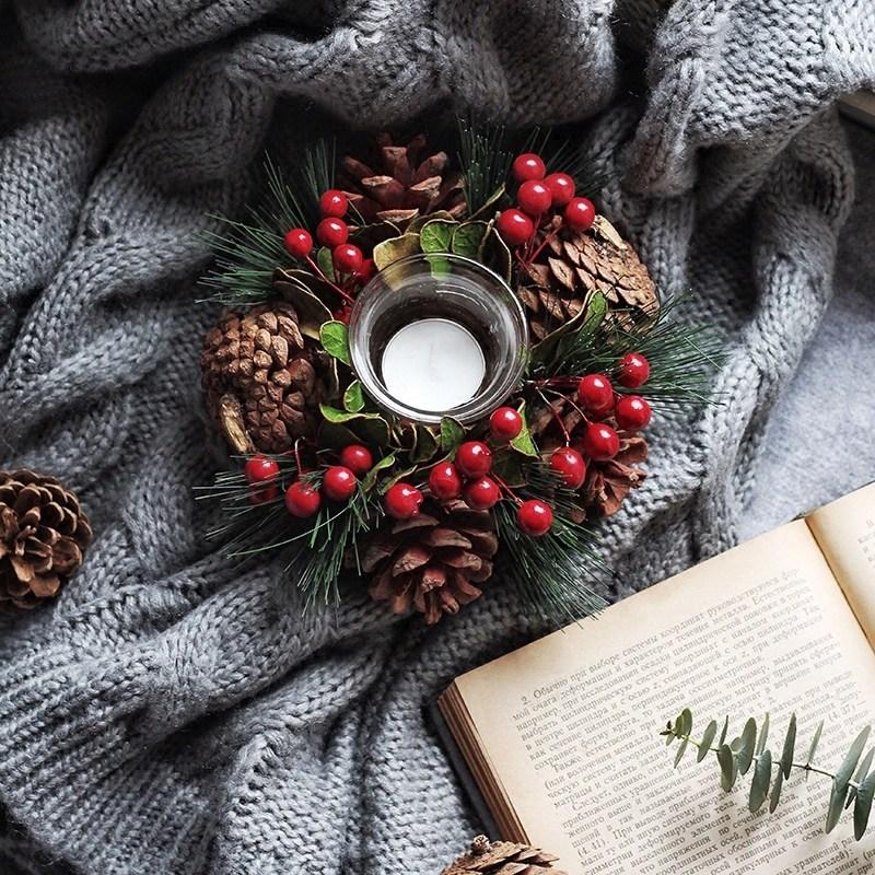 크리스마스 솔방울리스 캔들홀더 센터피스 테이블장식, 촛대+양초