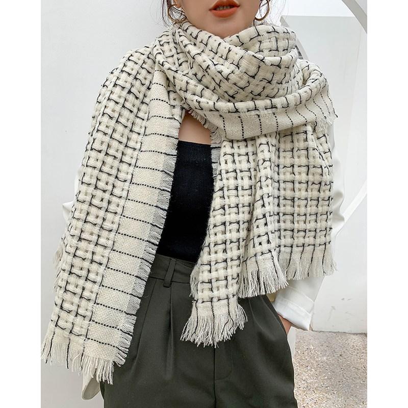 경축함 무늬 석 양털 울 캐시미어 숄 흑백 체크 오피스 100 스카프 여성 겨울 숄체크