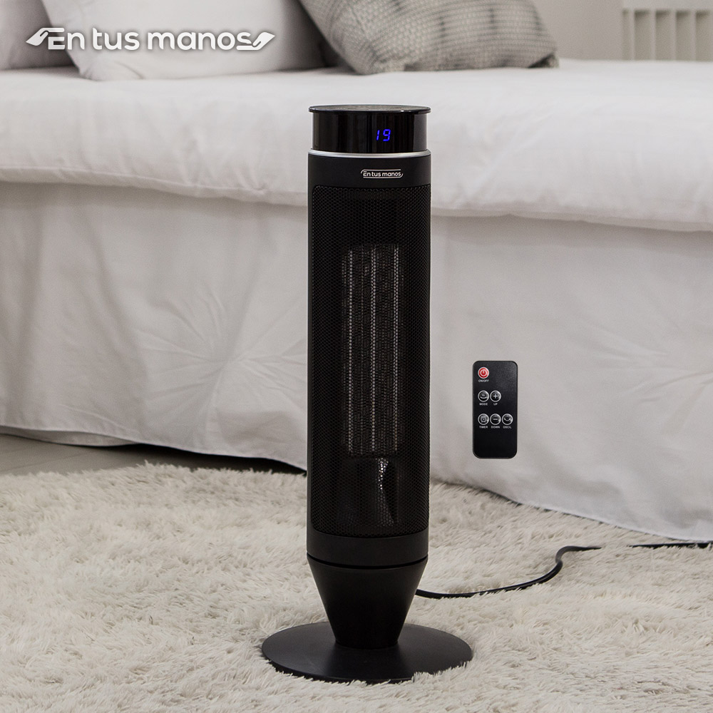 엔뚜마노 가정용 타워형 PTC 히터 온풍기 사무실 업소용 EP-S500, 블랙
