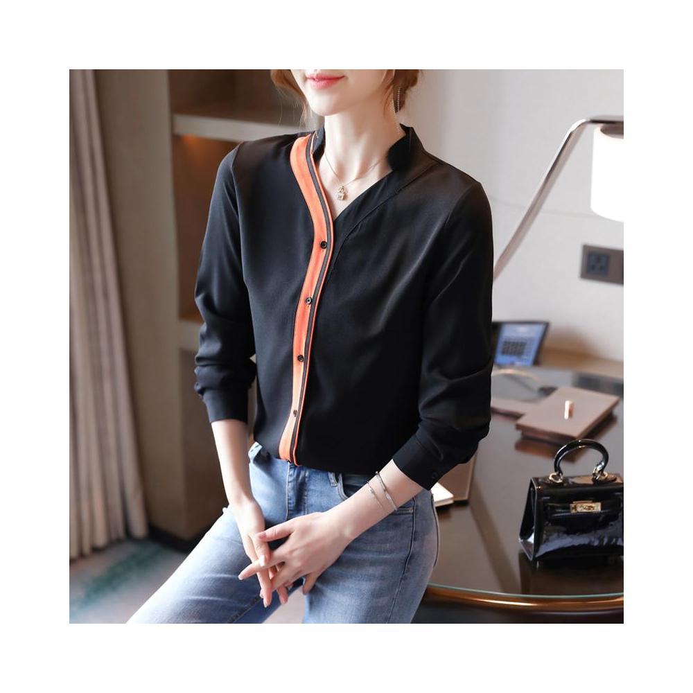 알지구 썸머 블라우스 실제 샷 서양식 가을 새로운 여성 옷깃 대비 컬러 V 넥 쉬폰 셔츠 카디건 바닥