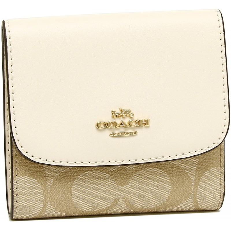 [여성 코치 지갑] [코치] 골절 지갑 아울렛 여성 COACH F87589 IMDQC 라이트 카키 화이트 [병행 수입품]