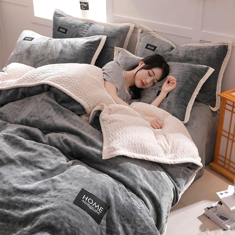 이불커버 두꺼운 보온 플란넬 4피스세트 산호벨벳 겨울 1.8m침구 양면 이불, C02-1.5m(5피트)침대
