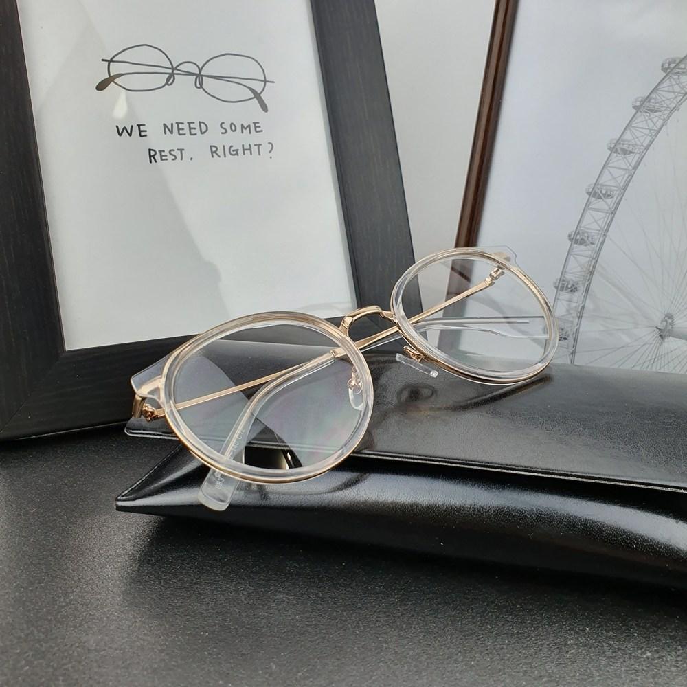 눈에편한안경 더 라운드 크리스탈 안경테+정품UV블루라이트차단렌즈