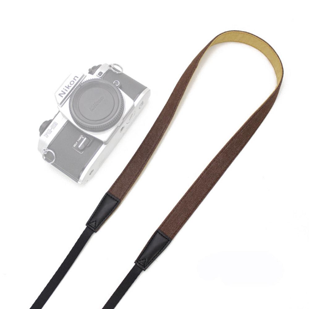 필템 카메라스트랩 넥스트랩 끈, 카메라스트랩(심플데님-폭2cm) 다크브라운