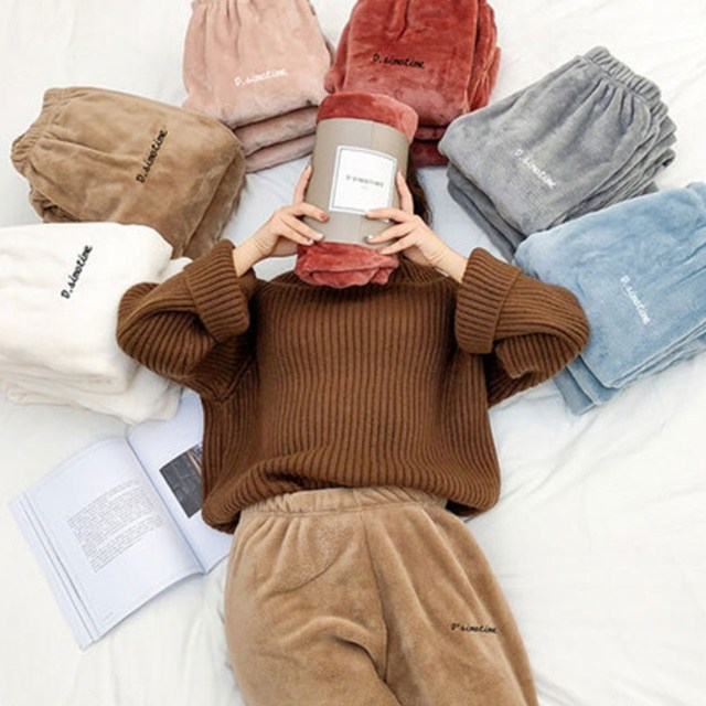 여성 극세사 수면바지 겨울 털 잠옷 파자마 홈웨어